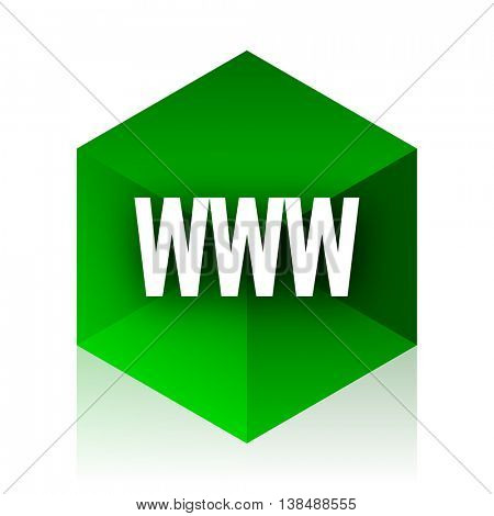 www cube icon, green modern design web element