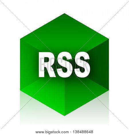 rss cube icon, green modern design web element
