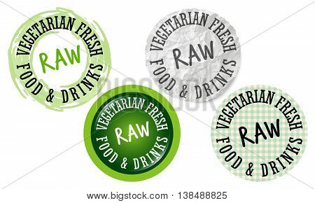 Set of four circular icons with the words fresh vegetarian raw food drinks