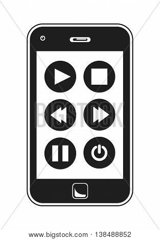 Smart Phone Music Controls. Simple Black And White Vector Illustration Of A Smart Phone Music Controls.