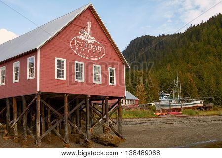 ICY STRAIT POINT ALASKA USA - SEPTEMBER 22 2011: Welcome Center in Icy Strait Point Hoonah Alaska