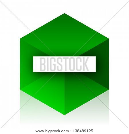 minus cube icon, green modern design web element