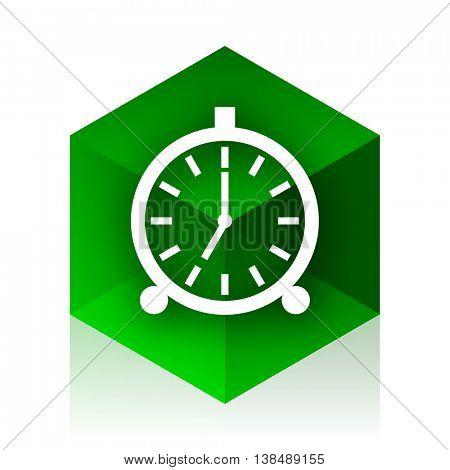 alarm cube icon, green modern design web element