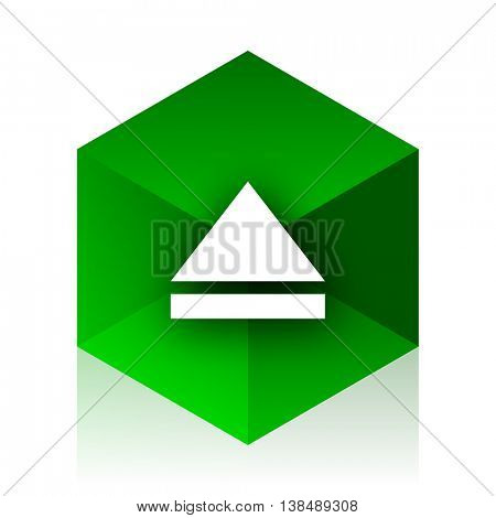 eject cube icon, green modern design web element