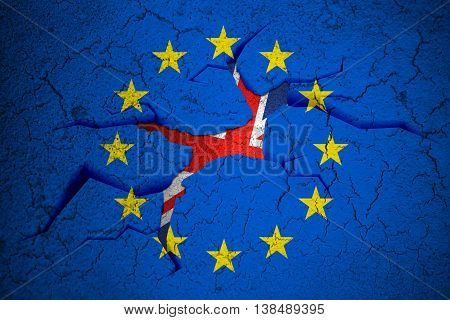 Brexit Blue European Union Eu Flag On Broken Crack Wall With Hole And Uk England Great Britain Flag