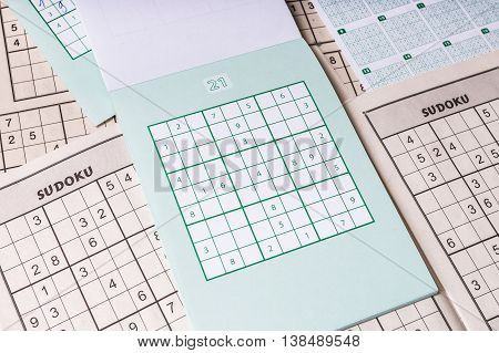 Many Blank Sudoku Crosswords. Popular Logic Game With Numbers.