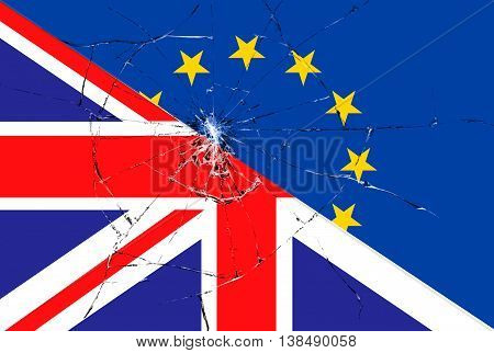 Brexit Blue European Union Eu Flag On Broken Glass Effect And Half Great Britain Flag
