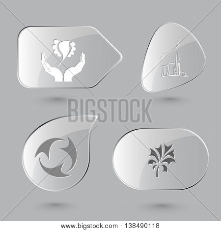 4 images: bird in hands, thermal power engineering, recycle symbol, plant. Ecology set. Glass buttons on gray background. Vector icons.