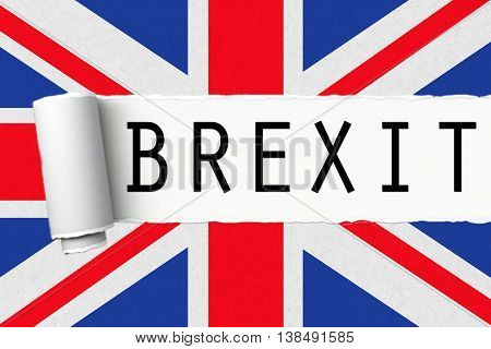 Uk England Great Britain Flag With Word Brexit On Ripped Torn Paper