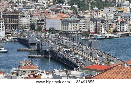 Galata Bridge And Karakoy District In Istanbul City