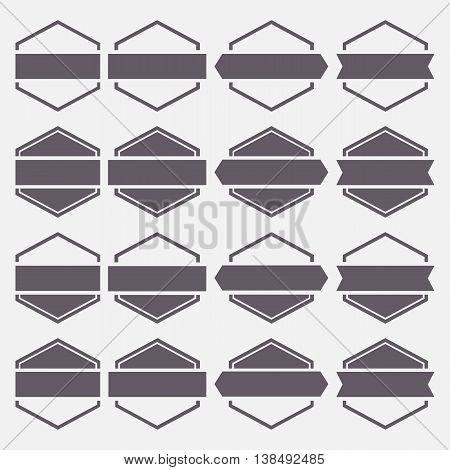 Set of sixteen gray hexagonal emblems isolated on white background in retro style first set vector illustration.
