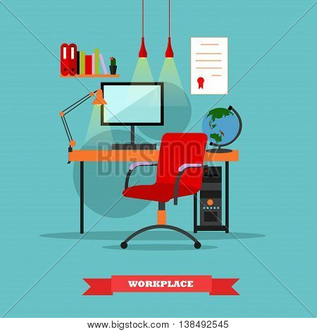 Workplace interior. Work at home concept vector illustration in flat style. Home office workplace.