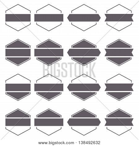 Set of sixteen gray hexagonal emblems isolated on white background in retro style second set vector illustration.