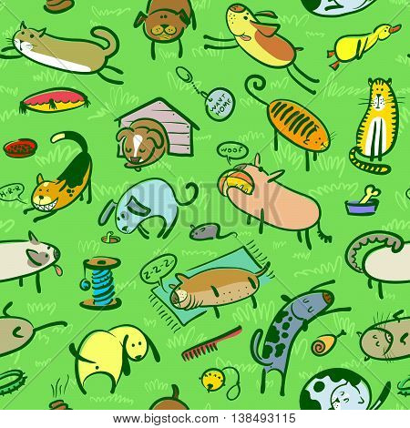 Vector cute doodle seamless pattern with cats and dogs. Pets wallpaper
