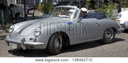 Naples Italy July 02 2016: vintage silver-plated Porsche 356 during the annual historical re-enactment of the Grand Prix of Naples