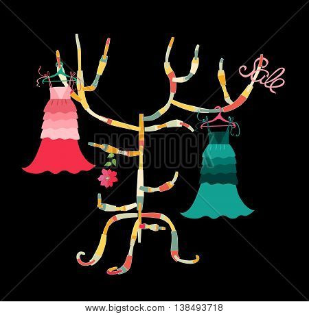 Beautiful card with floral summer female dresses on colorful hanger. Fashion design. Vector illustration.