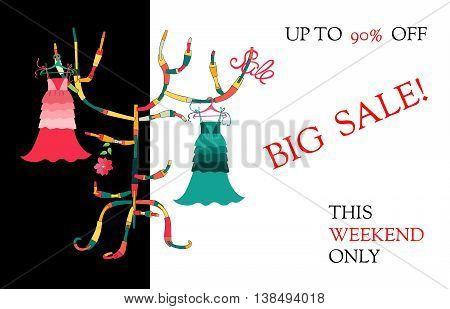 Big sale. Summer female dresses on colorful hanger. Fashion vector illustration.