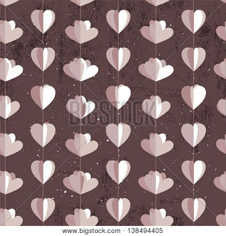 Festive seamless pattern with hanging hearts and flowers cut from paper.  Endless texture for your design, wedding greeting cards, announcements, posters.