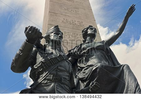 South African War Memorial, located at University Avenue and Queen Street West in Toronto, Ontario, Canada.