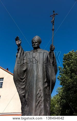 Mount St. Anna Poland - July 7 2016: Statue of Pope John Paul II in the Mount St. Anna in Poland.