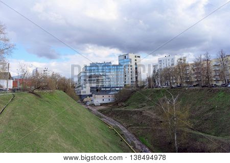 Nizhny Novgorod, Russia. - April 22.2016. New apartment house built at the beginning of the ravine on the street Postal descent