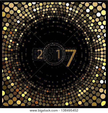 Vector -Happy New Year . The depicted circles of different colors mimicking the effect of the glitter. Can be used as cover for greeting cards or as invitations.
