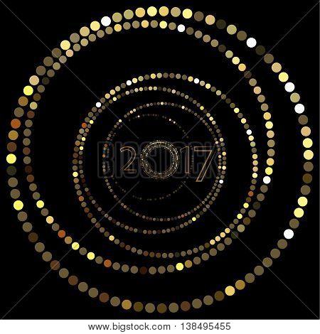 Happy New Year. The depicted circles of different colors mimicking the effect of the glitter. Can be used as cover for greeting cards or as invitations.