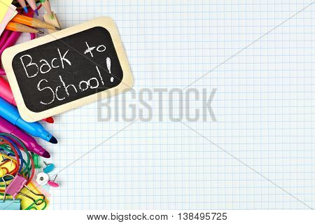 Back To School Chalkboard Tag With School Supplies Side Border On Graphing Paper Background