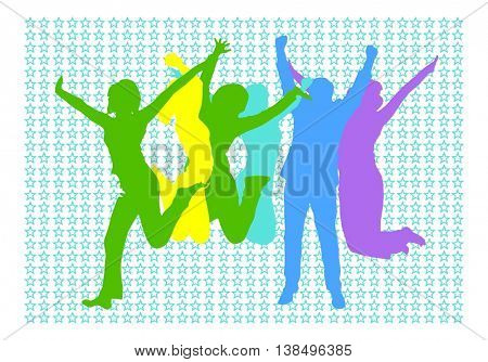 Together we Celebrate Win-Win - colorful silhouettes of people jumping with joy on blue star background
