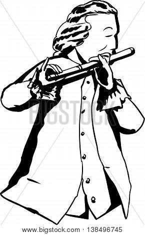 Outline Of 18Th Century Man Playing Flute