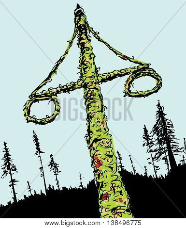 Swedish Midsummer Maypole And Forest
