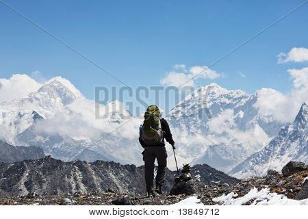 Climber in Himalaya mountain
