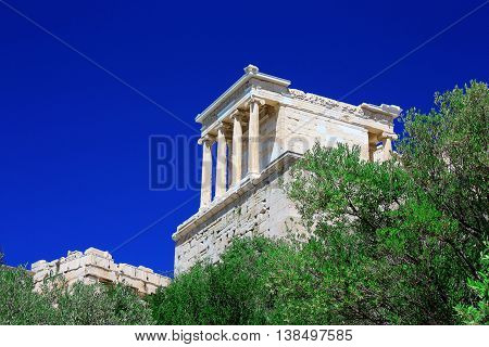 Temple of Athena Nike with blue sky on the background in Athens Greece