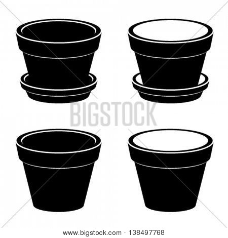 3D flowerpot black symbol vector