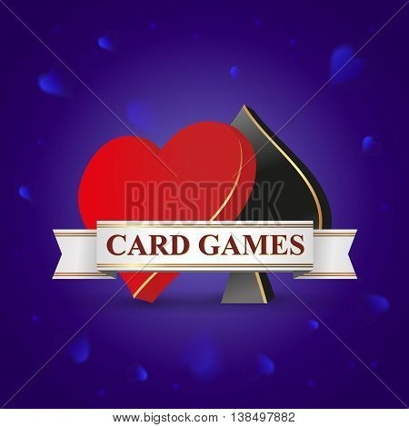 Vector illustration card games. Spades, hearts card game. Symbols - Spades, hearts on Blue background.