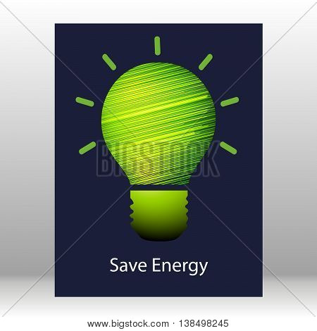 Vector lamp on dark background. Save energy. Vector illustration for the cover, or books. Eco-friendly energy. The conservation of energy.