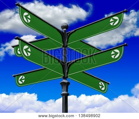 The post green information signs on a background of clouds and blue sky. 3D illustration