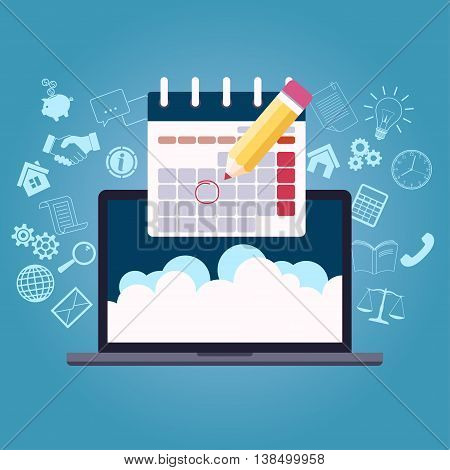 Business planning calendar with pencil mark and laptop, project start. Day plan. Agenda concept time control flat design