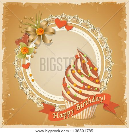 Festive colorful scrapbooking birthday card with meringue cake ribbon roses and hearts on the vintage background. eps10.