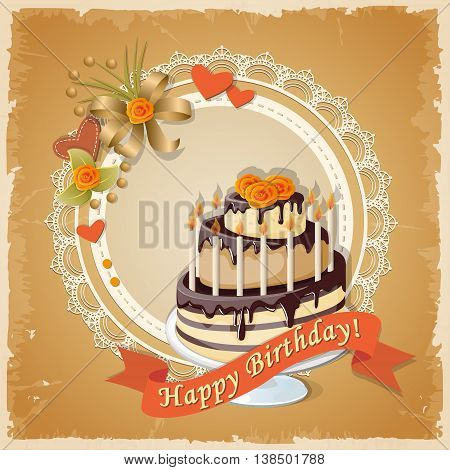 Festive colorful scrapbooking birthday card with cake tier ribbon candles hearts and roses on the vintage background. eps10.