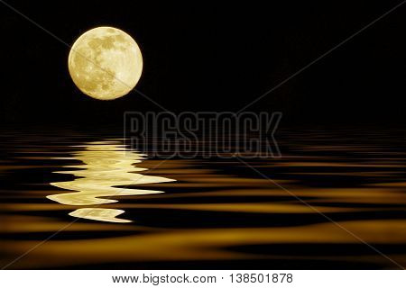 yellow moon over sea reflection, travel place