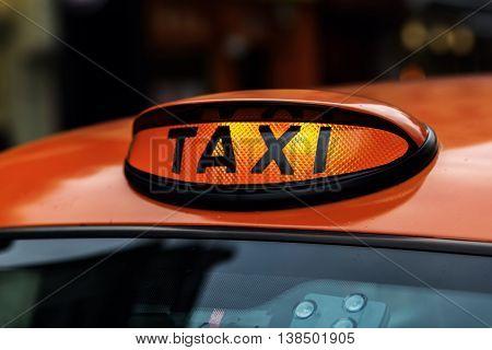 Illuminated Taxi Sign Of A London Taxi