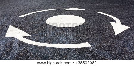 Roundabout Marking On The Road
