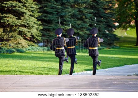 Changing guard soldiers in Alexander's garden near eternal flame in Moscow, Russia