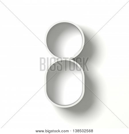 Long Shadow Digit. Number Eight 8. 3D