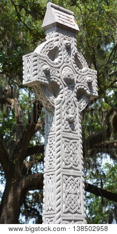 SAVVANAH GEORGIA JUNE 27 2016: Irish Celtic Cross Memorial, Emmet Park. The Celtic Cross of Irish limestone from the County of Roscommon, in West Ireland, honors Savannahians of Irish descent