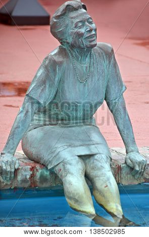 MYRTLE BEACH SOUTH CAROLINA JUNE 29 2016: Bronze statues dedicated to the families of the world sponsored by Burroughs & Chapin Company Inc