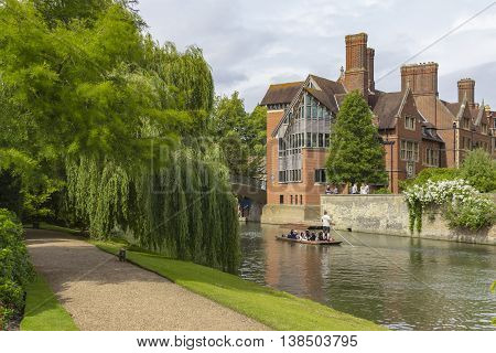Cambridge England - July 7 2016: Architecture view of Trinity Hall ancient buildings in Cambridge England.