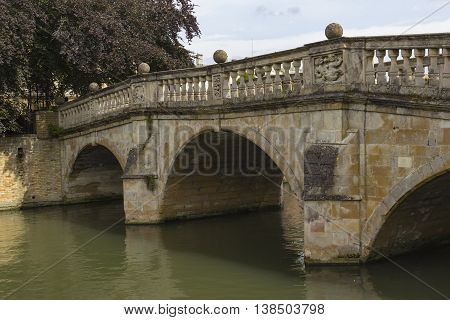 Cambridge England - July 7 2016: Architecture view of Clare College ancient bridge in Cambridge England.