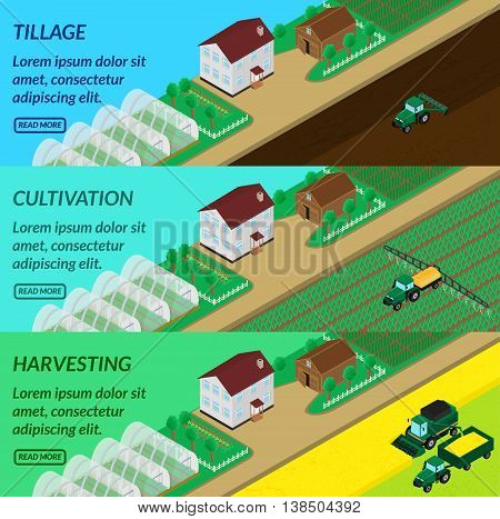 vector illustration. Web banner agriculture - plowing fields spraying harvesting. Tractor combine. House barn greenhouses. Isometric 3D